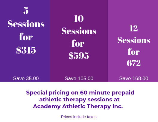 packages, Academy Athletic Therapy Inc., Winnipeg, MB, offer, deals
